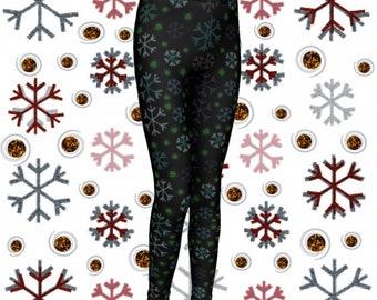 SNOWFLAKE Leggings for GIRLS Christmas Leggings Toddler Leggings Girl Leggings Winter Leggings Xmas Leggings Kids Leggings Baby Leggings