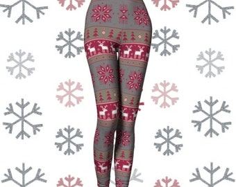 CHRISTMAS LEGGINGS Womens Christmas Printed Snowflake Reindeer Pattern HOLIDAY Leggings Yoga Leggings Christmas Gift for Wife Yoga Pants