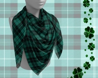 GREEN TARTAN PLAID Scarf for Women Long & Square Styles Plaid Scarf Designer Scarves for Women - Scarf - Women's Fashion Accessories Scarf