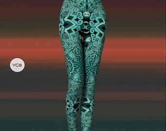 Mandala LEGGINGS Sacred Geometry YOGA PANTS Sexy Print Leggings Sexy Womens Leggings Sexy Yoga Pants Festival Leggings Burning Man Clothing