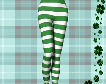 Green and White Striped Leprechaun LEGGINGS Womens HOLIDAY Leggings Yoga Leggings Elf Stockings Elf Leggings St Patricks Gift for Wife Pants