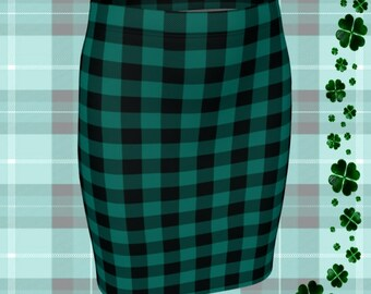 Green Buffalo PLAID SKIRT Womens Plaid Skirts St. Patricks Day Skirt for Women Green and Black Plaid Flare Skirt Fitted Skirt Plaid Skirt