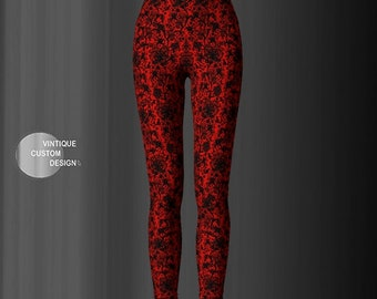 Red and Black LACE LEGGINGS WOMENS Yoga Pants Lace Printed Leggings Sexy Gothic Leggings Art Leggings Tribal Yoga Leggings Yoga Tights