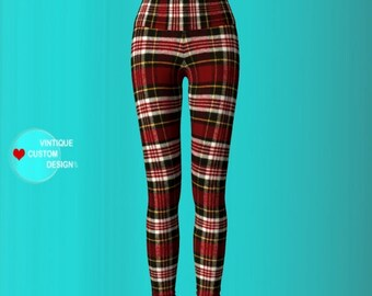 Red Tartan PLAID YOGA PANTS Red Tartan Plaid Leggings for Women Womens Clothing Red Plaid Sexy Print Leggings Sexy Yoga Pants Sexy Leggings