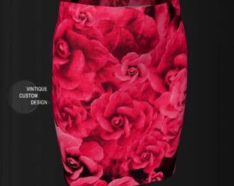 RED ROSE SKIRT Roses R Red Designer Fashion Printed Skirt Slim Fit Skirt Womens Fitted Skirt Floral Printed Skirt Floral Skirt Rose Skirt