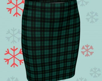 GREEN Tartan PLAID SKIRT Womens Plaid Skirts Tartan Plaid Skirt for Women Green Plaid Flare Skirt Fitted Skirt Plaid Skirt Womens Christmas