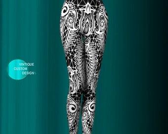 Tribal LEGGINGS Black and White Printed Leggings Womens Yoga Leggings Art Leggings for Women Yoga Pants Designer Legging Sexy Print Leggings