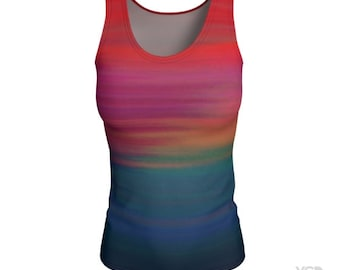 RAINBOW Shirt Sleeveless Running Tank Top WOMENS Work Out CLOTHING Yoga Top Womens Clothing Cross Fit Tank Top Cross Fit Top Fitness Shirts