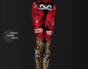 Steam Punk Leggings WOMENS Steampunk Leggings for Women Cyberpunk Leggings Futuristic Clothing Sexy Print Leggings Sexy Yoga Pants Womens