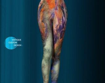 Galaxy ART LEGGINGS Paint Splatter Printed Leggings Glitter Print Art Leggings Rainbow and Gold Glitter Print Yoga Leggings Womens Leggings