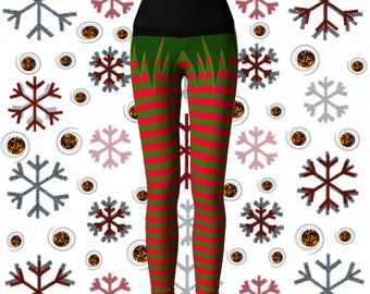 ELF Yoga LEGGINGS Yoga Pants Christmas ELF Leggings Cosplay Elven Leggings Red and Green Striped Leggings Christmas Tights Stockings Womens