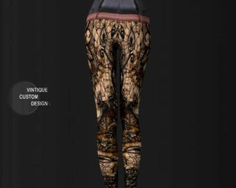 Steampunk Leggings WOMENS STEAMPUNK LEGGINGS Art Leggings Steam Punk Leggings Sexy Print Leggings Cyberpunk Leggings Sexy Leggings Cosplay