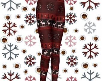 Kids CHRISTMAS LEGGINGS Reindeer Snowflake Printed Leggings for Girls Leggings Baby Leggings Toddler Leggings Christmas Outfit for Girls