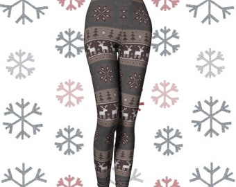 Xmas LEGGINGS Yoga PANTS Christmas Leggings Womens REINDEER Pattern Printed Yoga Leggings Winter Printed Snowflake Christmas Tights for Her