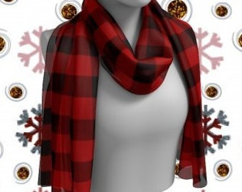 RED BUFFALO PLAID Scarf Buffalo Check Plaid Scarf Red Plaid Scarf for Womens Winter Fashion Accessories Christmas Gifts for Her Scarves