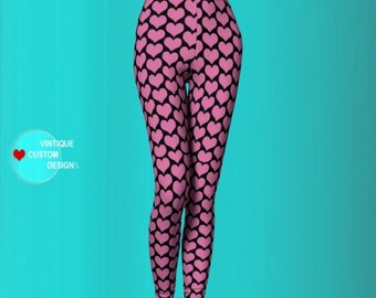 Heart Leggings Pink and Black VALENTINES Day LEGGINGS Womens HEART Printed Leggings Designer Leggings Fashion Leggings Valentines Yoga Pants