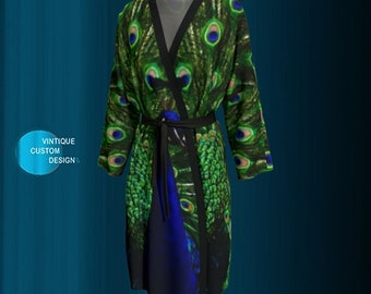 Peacock Feather Robe Long KIMONO ROBE Womens Kimono PEIGNOIR Robe for Women Animal Print Robe Sexy Gift for Wife Gift for Mom Gift for Her