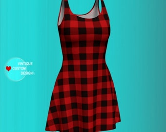 BUFFALO PLAID DRESS Womens Sexy Mini Dress Designer Dresses for Women Slim Fit Body Con and Flare Dress Bodycon Skater Dress Sexy Dresses