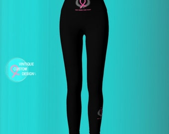 YOGA PANTS Pink Ribbon Leggings Womens Clothing BCAM Leggings Breast Cancer Awareness Leggings Yoga Leggings Pink and Black Pink Ribbon
