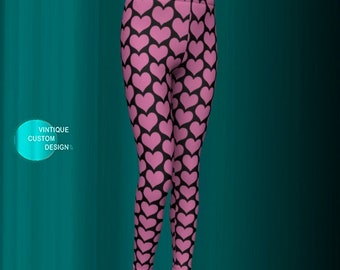 Pink and Black HEART LEGGINGS for Girls Heart Print Leggings for Kids Baby Leggings Toddler Leggings Girls Clothing Trendy Kid New Mom Gift