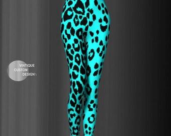 Animal Print LEGGINGS Womens Cheetah Print Leopard Print Leggings YOGA PANTS Yoga Leggings for Women Teal and Black Cheetah Print Tights