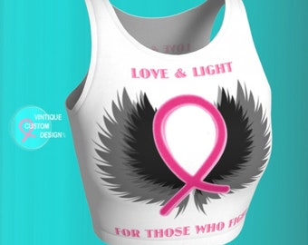BREAST CANCER AWARENESS - Crop Top For Women - Pink Ribbon - Womens Crop Top - Work Out Clothing - Support - Get Well Gift - Pink Ribbon Top