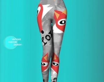 FOX LEGGINGS Yoga Pants WOMENS Fox Print Leggings Print Leggings Fox Leggings Yoga Leggings Fox Print Art Leggings Hipster Leggings Animal