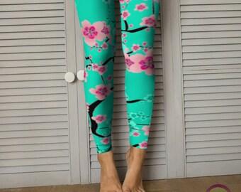 FLORAL SPRING LEGGINGS Cherry Blossom Pattern Teal / Pink Flower Printed Leggings for Women Yoga Leggings Womens Yoga Pants Floral Print