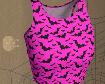 Halloween Crop Top Womens Pink Black Bat CROP TOP Athletic Crop Top Activewear for Women HALLOWEEN Top Cycling Clothing Soul Cycle Yoga Top
