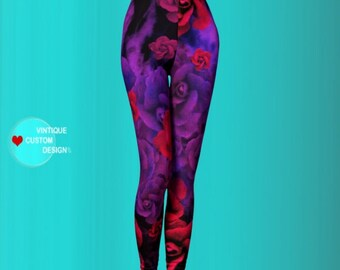 Purple and Red Rose LEGGINGS Sexy Print Leggings Sexy Yoga Pants Sexy Yoga Leggings Womens Sexy Leggings Art Leggings Floral Leggings Roses
