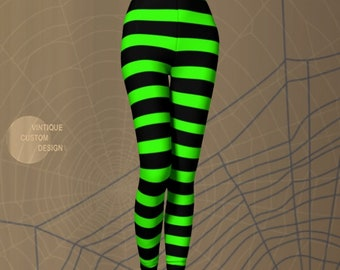 Witch LEGGINGS Halloween Tights WOMENS Witch Stockings Wicked Witch Costume Green Black Striped Leggings Printed Leggings Costume for Her