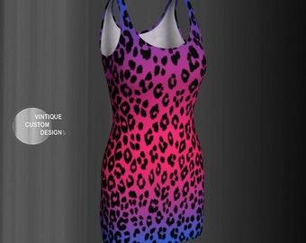 CHEETAH PRINT DRESS Women's Animal Print Cheetah Dress Sexy Mini Dress Body-con Dress Flare Dress Festival Clothing Club Dress Rave Dress