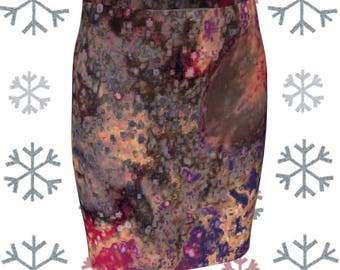 SKIRT Womens Fitted Skirt Abstract Art Print Skirt for Women Slim Mini Skirt Golden Bronze and Purple Abstract Art Designer Fashion Skirt
