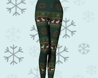 REINDEER CHRISTMAS Legging Womens Christmas Pattern HOLIDAY Yoga Leggings Womens Yoga Leggings Christmas Gift for Wife Green Yoga Pants