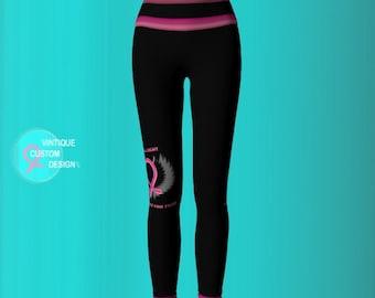 BCAM YOGA LEGGINGS Womens Yoga Pants Pink and Black Yoga Leggings Breast Cancer Awareness Clothing Pink Ribbon Yoga Leggings for Women