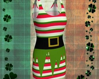 Leprechaun DRESS Womens ELF Costume Cosplay Body Con Dress Slim Fit Mini Dress Red and White Green Striped Dress St Pattys Dress Party Dress