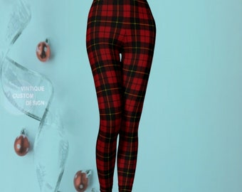 Tartan PLAID LEGGINGS Womens Leggings Yoga Leggings Womens Leggings Yoga Pants Printed Leggings Christmas Leggings Red + Black Gift for Her