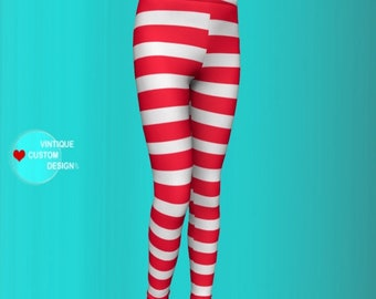 Red and White Striped CANDY CANE LEGGINGS Valentines Day Leggings Toddler Leggings Kids Leggings Baby Leggings Tights Children Leggings