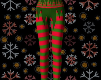 YOGA LEGGINGS WOMENS Christmas Leggings Yoga Pants Elf Costume Cosplay Leggings Stockings Tights for Christmas Sexy Elf Leggings Womens