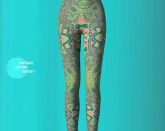 SPRING LEGGINGS Mandala Leggings Sacred Geometry Green Floral Lotus Flower Womens Leggings YOGA Pants Yoga Leggings Festival Yoga Leggings