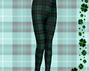 GREEN Tartan Plaid CHRISTMAS LEGGINGS Mommy and Me Christmas Outfit Matching Leggings Baby Leggings Toddler Leggings Youth Leggings Kids