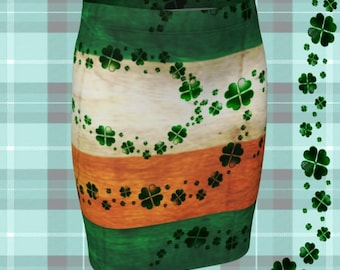 MINI SKIRT St Patricks Day Skirt WOMENS Clothing Irish Flag Irish Pride Fashion Skirt St Pattys Day Green and Orange Shamrock Clover Skirt