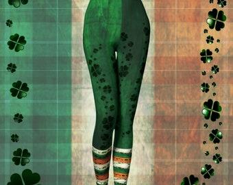 SHAMROCK Clover LEGGINGS Green Orange and White IRISH Flag Printed Yoga Leggings Womens Leggings Yoga Pants St. Patricks Day Leggings