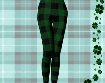 Plaid Christmas LEGGINGS Womens Plaid Leggings Green and Black Buffalo Check Plaid Sexy Print Leggings Womens Sexy Leggings Sexy Yoga Pants