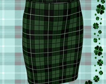 St. Patricks Day GREEN Tartan PLAID SKIRT Womens Plaid Skirts Tartan Plaid Skirt for Women Green Plaid Flare Skirt Fitted Skirt Plaid Skirt
