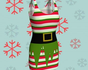 Christmas DRESS Womens ELF Costume Cosplay Body Con Dress Slim Fit Mini Dress Red and White Green Striped Dress Holiday Dress Party Dress