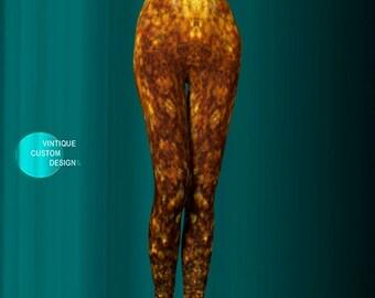 LEGGINGS Gold Glitter Print Leggings Sparkly Leggings for Women - Womens Clothing - SEXY PRINT Leggings Sexy Yoga Pants Sexy Womens Leggings
