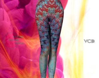 Psychedelic Fractal LEGGINGS Tie Dyed Leggings Sexy Print Leggings YOGA PANTS Festival Leggings Womens Rave Leggings Rainbow Art Leggings