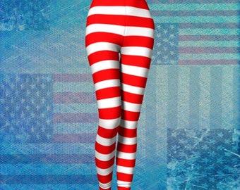 b6681c10ca5 Patriotic Striped LEGGINGS Red and White Striped Leggings for Women USA  Striped Womens Yoga Leggings Red and White Candy Cane Yoga Pants