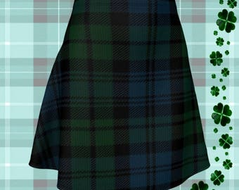 Green Tartan Plaid SKIRT Womens High Waisted Skirt TARTAN PLAID Mini Skirt Tartan Skirt Tartan Skirt 50s Saint Patricks Day Sexy Mini Skirt